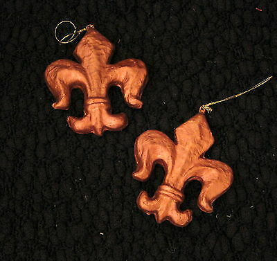 Pair Of Bronze Color French Fleur De Lis Christmas Ornaments
