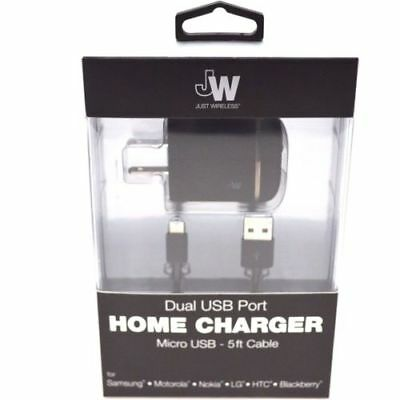Just Wireless Car and Wall Charger with 5ft Micro USB Cable Black 2.4 Amp 13201
