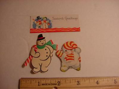 Vintage NOS Lot of 3 Different CHRISTMAS Stickers/Seals and Gift Tag: SNOWMAN