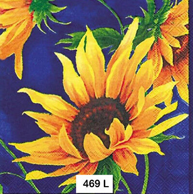 (469) TWO Individual Paper Luncheon Decoupage Napkins - SUNFLOWERS
