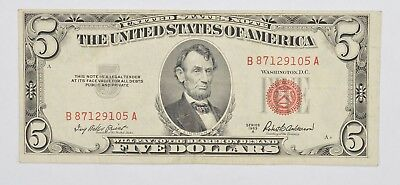 Crisp 1953-X Red Seal $5.00 United States Note - Better Grade *797