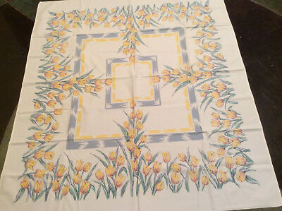 """Vintage Tablecloth With Yellow Tulips 44"""" x 49"""" Very Nice"""
