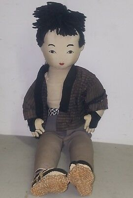 antique handmade silk doll japanese or chinese possibly Korean unsure