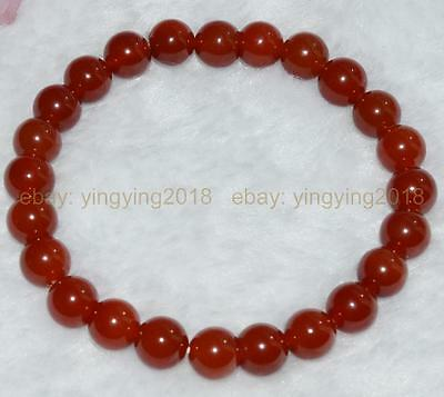 Genuine 8mm antique art deco rare red chalcedony agate beads bracelet 7.5 inches