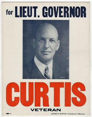 Rare 1950 LAURENCE CURTIS Lt Governor Massachusetts POSTER Boston SIGN Political