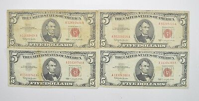 Lot of (4) $5.00 Red Seal Old US Notes Currency Collection 1963 *354
