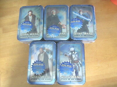 Lot 5 Topps Star Wars Attack Of The Clones Movie Cards Tins Sealed 2002
