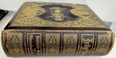 Antique 1825 German Family Bible Heavily Illustrated Previous Restoration Books Manuscripts