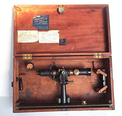1920's A. LIETZ, TRANSIT / ALIDADE for PLANE TABLE SURVEYING with Wood Case