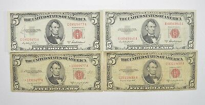 Lot of (4) $5.00 Red Seal Old US Notes Currency Collection 1953 *345