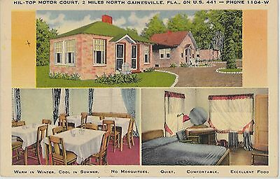 c1940 Hil-Top Motor Court on US 441 north of Gainesville Florida postcard view