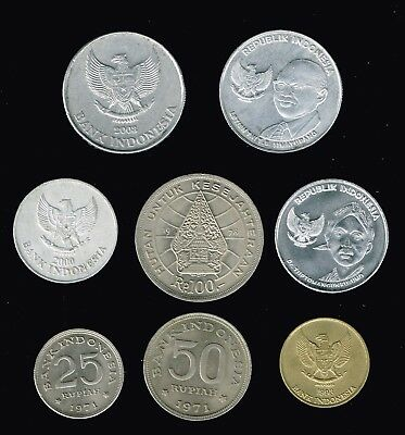INDONESIA:-8 different  post independence coins,values  25-500 Rupiah. AP6953