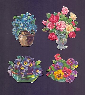 4 Nice Vintage Die Cut,Scraps Flowers Largest Scrap 100 x 85 mm    (SB 9)