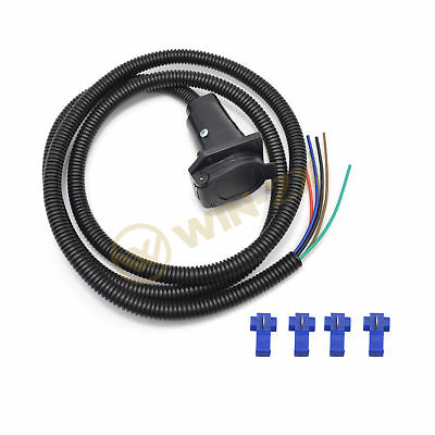 1pc 12V 7-Way Blade Pin Round RV Tow Bar Electrical Trailer Socket w/ 2m Cable