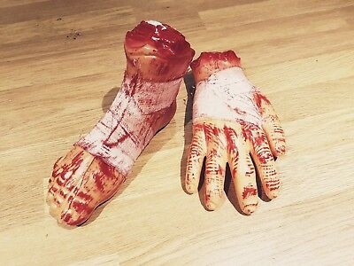HALLOWEEN 2pc FOOT+HAND Prop Realistic Hand Terror Bloody Fake Body Part Severed