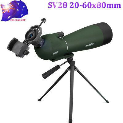 SV28 20-60x80mm BAK4 Prism Refractor Angled Zoom Spotting Scope Birdwatching AU