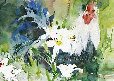 Rooster in the Flowers ~ Chickens ~ DIY Counted Cross Stitch Pattern