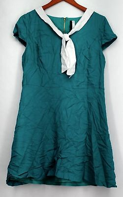 Kensie Dress Sz L Cap Sleeve Self Tie Neckline Detail Teal Green Womens