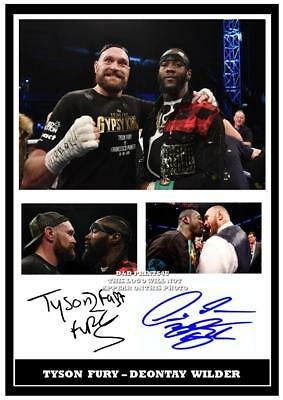 152. Tyson Fury & Deontay Wilder Boxing Signed Reproduction Print Size A4