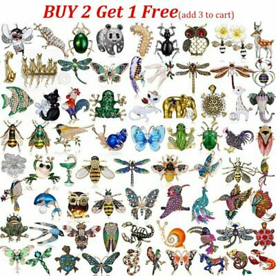Fashion Wedding Bridal Crystal Pearl Animal Butterfly Dragonfly Cat Brooch Pin