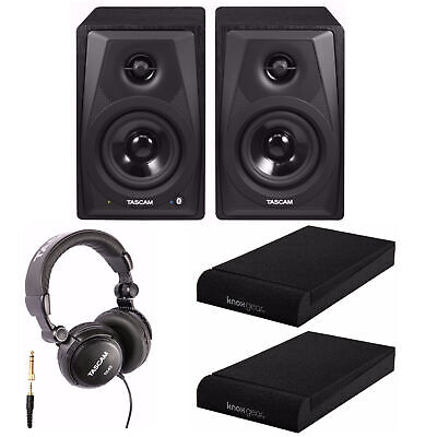 Tascam VL-S3BT 2-Way Powered Desktop Monitors with Isolation Pads and Headphones