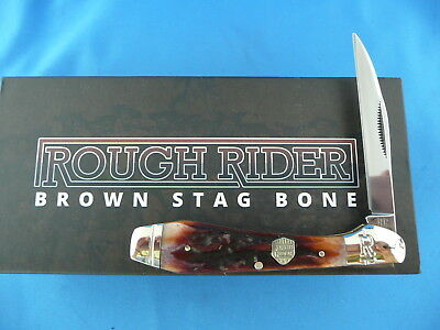 Rough Rider Brown Stag Bone Wharncliffe Knife Stainless Steel RR1803