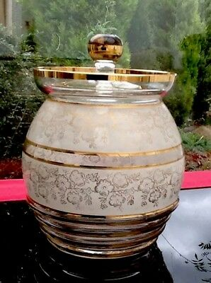 Rare Glass Biscuit Barrel Jar Gilded Patterned Rare 1950s 60s Vintage Retro