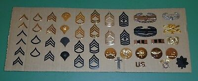 Nice Lot of 40 US Military Issue Army Rank Insignia Uniform Collar Pins