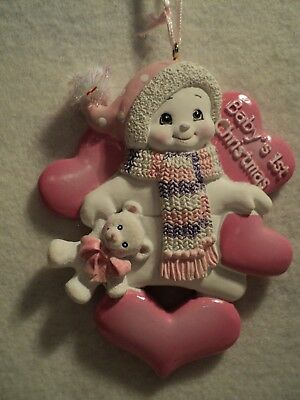 "Ksa ""baby's 1St Christmas"" Snowman With Hearts""  Ornament ~ Girl"