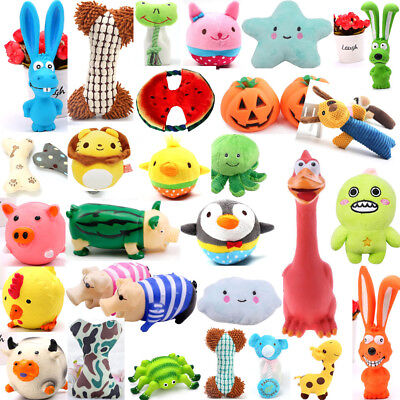 Funny Animal Shape Pet Puppy Dog Toys Soft Plush Sound Training Chew Toy Lot
