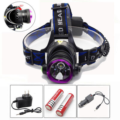 10000LM LED Zoomable Rechargeable Headlight Headlamp Torch Light 18650 Charger