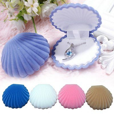 Pearl Shell Shape Velvet Display Gift Box Jewelry Case For Necklace Earring Ring