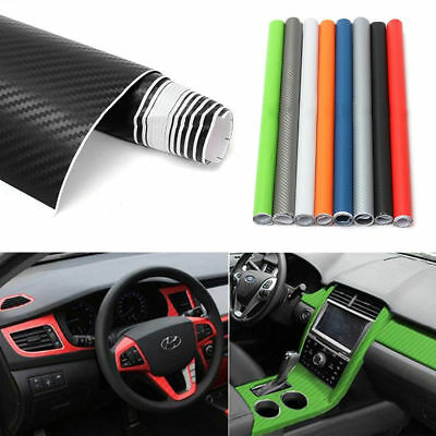 3D Carbon Fiber Vinyl Car Wrap Sheet Wrap Roll Film Sticker Decor 12 Colors New