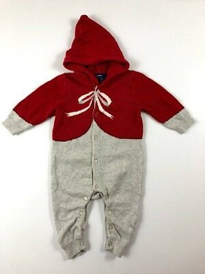 5680fcf5a49 Baby Gap Girls 3-6 Months Red Gray Hooded Sweater Christmas One Piece Romper