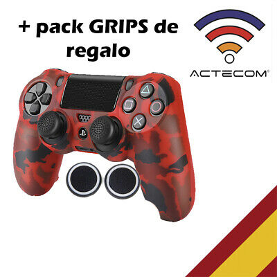 Actecom® Funda + Grip Silicona Camuflaje Rojo Mando Sony Ps4 Playstation 4