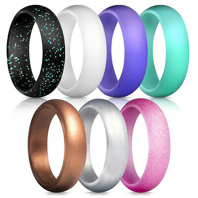 7 Pcs Silicone Wedding Ring Band Rubber Men Women Flexible Gifts Comfortable USA