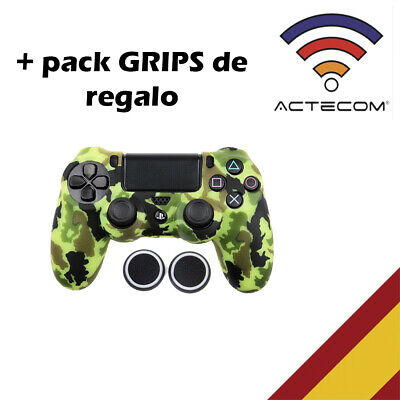 Actecom® Funda + Grip Silicona Camuflaje Amarillo Mando Sony Ps4 Playstation 4