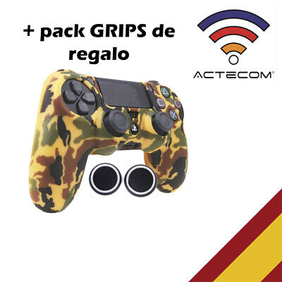 Actecom® Funda + Grip Silicona Camuflaje Marron Mando Sony Ps4 Playstation 4