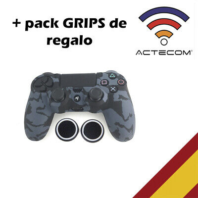 Actecom® Funda + Grip Silicona Camuflaje Negro Mando Sony Ps4 Playstation 4