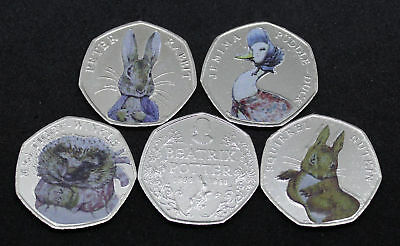 COLOURED 2016 BEATRIX POTTER 5 COIN SET BUNC  50p Fifty Pence Coins
