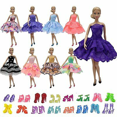 10 Items for 11.5'' Girl Doll =5 PCS Mini Lace Skirt Dress Summer+ 5 Pairs Shoes