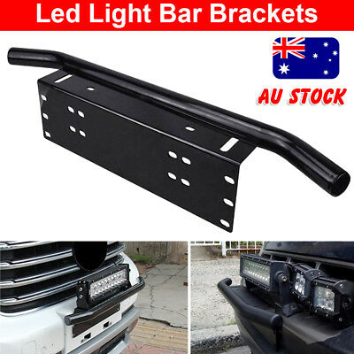 License Number Plate Frame Holder Bull Bar Bumper Mount Light Lamp LED Bracket