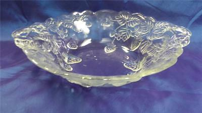 Lovely Large Oval Glass Embossed Bowl With Handles