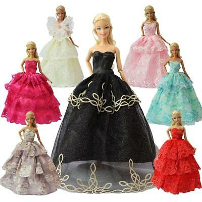 5pcs Handmade Fashion Party Princess Dresses Outfit for Barbie Clothes XMAS GIFT