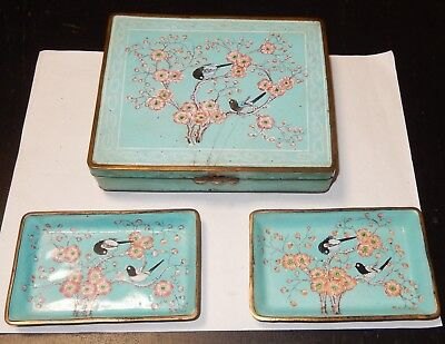 Old Chinese Turquoise Birds Blossoms Canton Enamel Humidor Box Tray Set