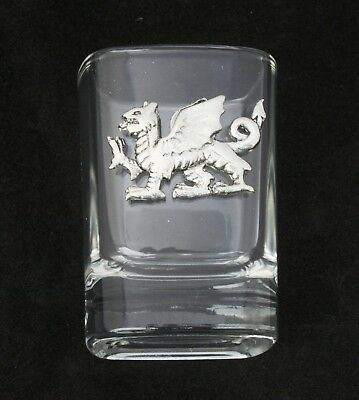 Welsh Dragon Cut Crystal Shot Tot Glass Cup Ideal Welsh Gift 391