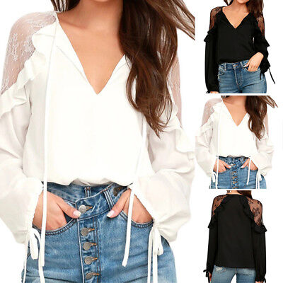Women's Lantern Sleeve Casual Shirt Tops Frill Patchwork Loose Blouse Plus Size