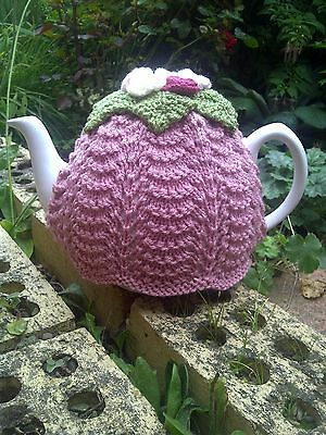 Hand knitted tea cosy / cozy with roses - vintage pretty. Dusky rose