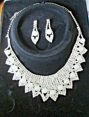 Silver Crystal Bib Collar Diamante Pearl Necklace Earring Set Bridal Jewelry