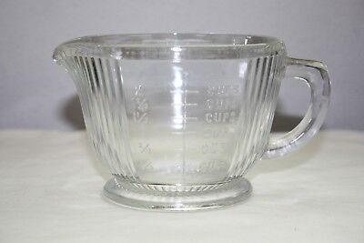 Vintage Footed  2-Cup Ribbed Glass Measure with Raised Lettering & Starburst